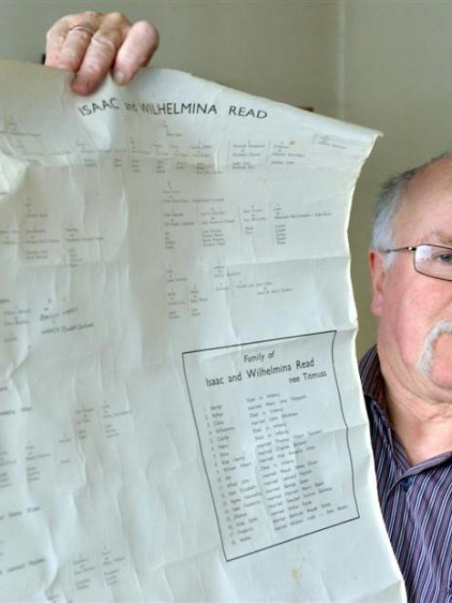 Dunedin resident Ken Goodwin (63) with his family tree, which now includes links to a previously...