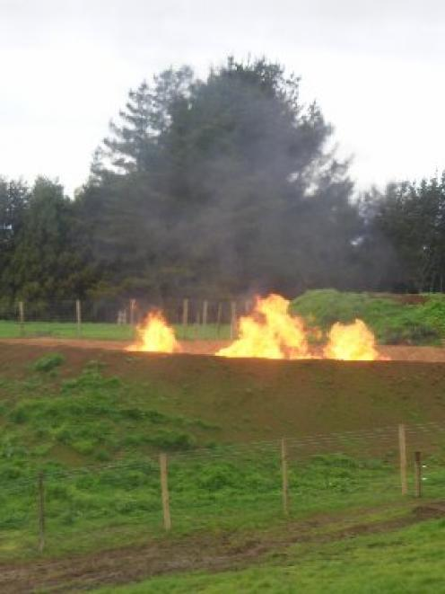 Todd Energy's mandatory flare pit at its Mangahewa C drilling site. Photo by Simon Hartley.