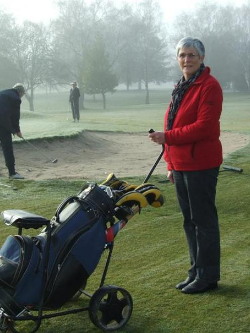 Toko Golf Club centennial committee secretary Joan McLeod (right) was on the course for ladies'...