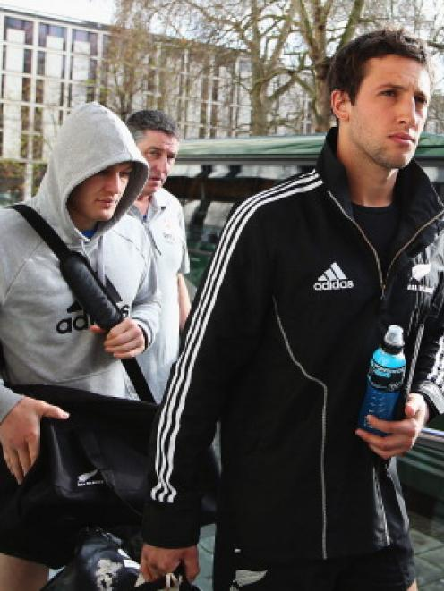Tom Taylor of the All Blacks arrives for a recovery session at Imperial College in London.  ...