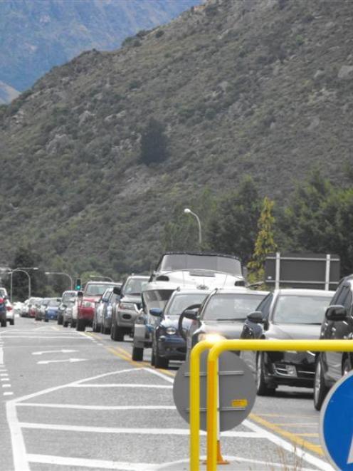 Traffic moves slowly through Frankton as congestion causes delays on the single-lane Kawarau...