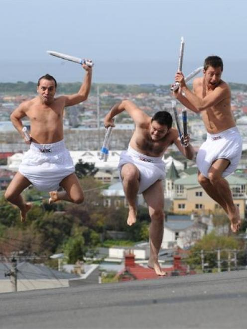 Tricicle (from left) Fedor de Pablos, Eduard Mendez and Antonio del Valle hit Dunedin yesterday....