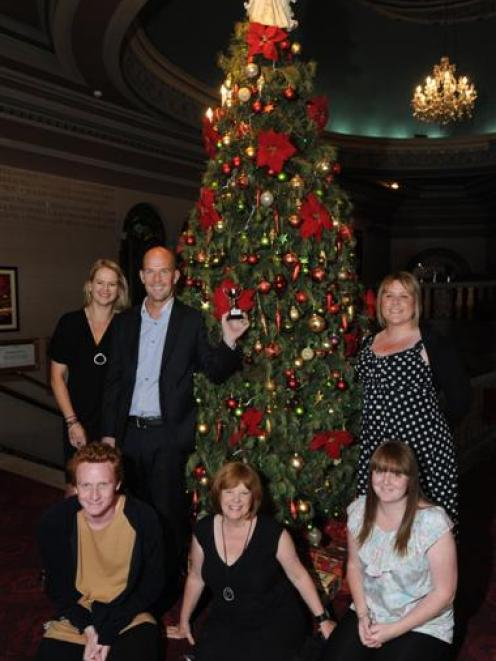 Triumphant Regent Theatre tree decorators (sitting, from left) Brogan Nuttall, Bernie Chatfield...