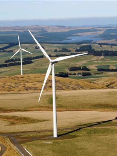 Trustpower's Mahinerangi wind farm and hydro storage lake. Photo by Stephen Jaquiery.