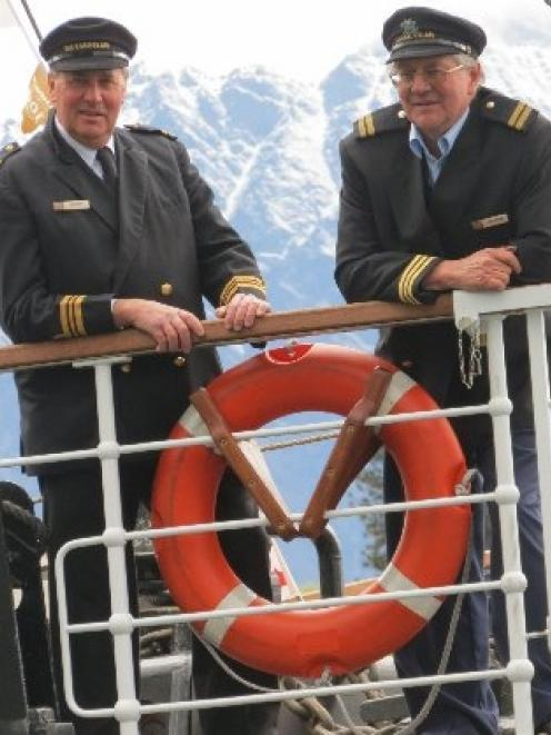 "TSS Earnslaw skipper Laurie Stanton (left) and senior skipper Graham ""Twinny"" Moore-Carter stand..."
