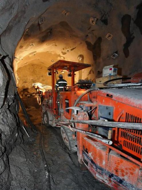 Tunnel drilling equipment in operation at Oceana Gold's Frasers underground development at its...