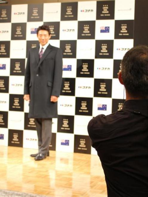 TV sports presenter Shuzo Matsuoka models one of the Konaka wool coats. Photo supplied.