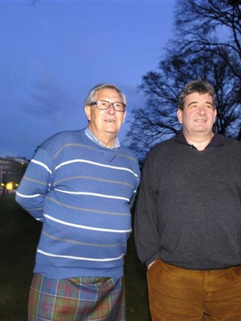 Scottish piping judges Tom Speirs (67) and Colin MacLellan (49), who together have more than 100...