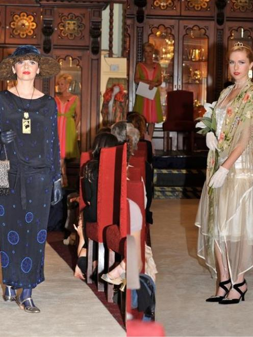 Two of the 1920s gowns from the Darnell Collection modelled at a recent Roaring Twenties fashion...