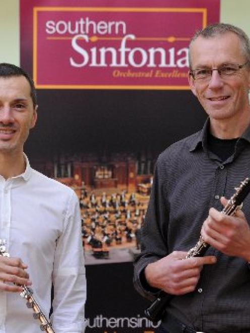 Two of the Southern Sinfonia's principal woodwind players,   Luca Manghi (flute, left) and...