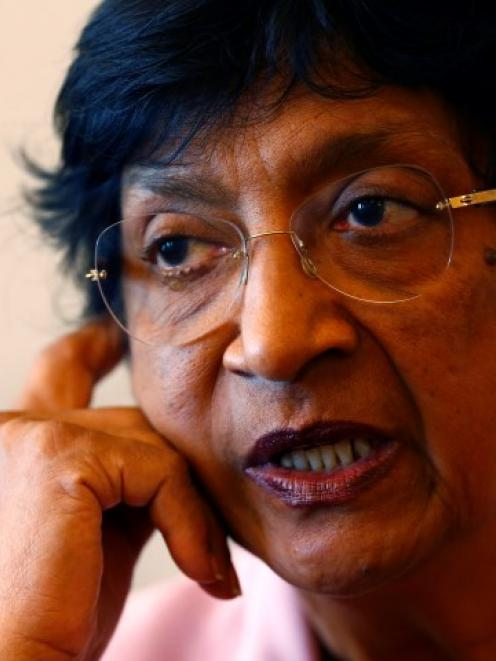 UN Human Rights Commissioner Navi Pillay talks during an interview to Reuters in her office in...
