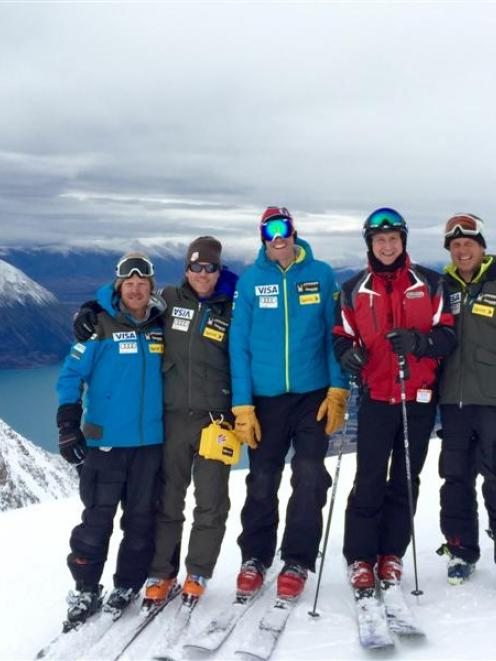 United States ambassador to New Zealand Mark Gilbert (second from right) joins United States ski...