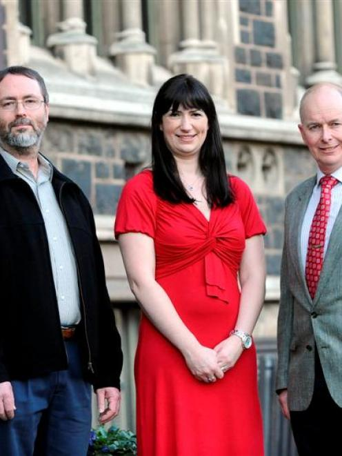 University of Otago academics (from left) Associate Prof Anthony Robins, Dr Rhiannon Braund and...