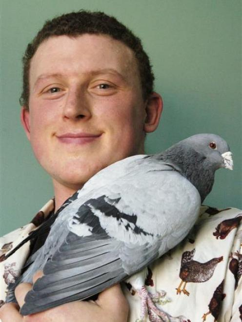 University of Otago doctoral student Damian Scarf takes a closer look at a carrier pigeon...