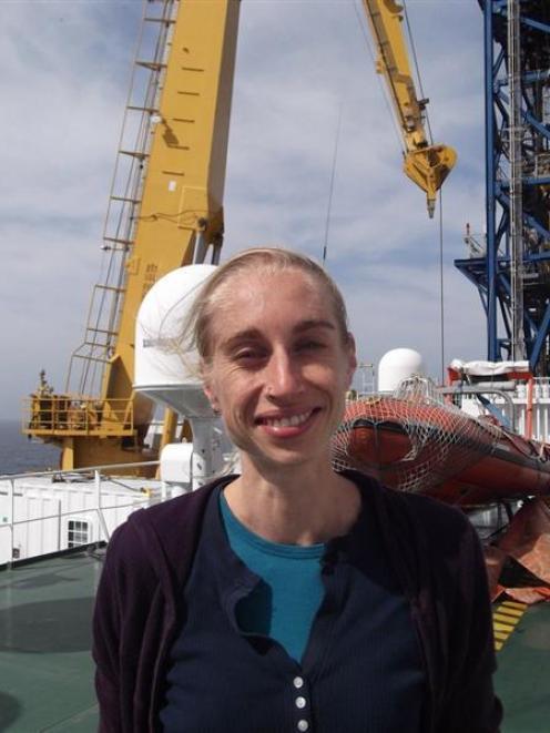 University of Otago geologist Dr Virginia Toy on board the scientific drilling vessel Chikyu....
