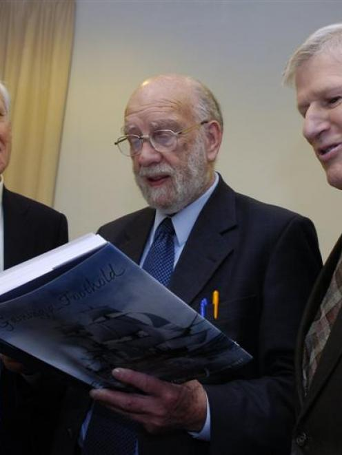 University of Otago vice-chancellor Prof David Skegg, researcher George Griffiths and author Ian...