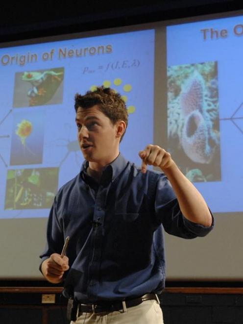 University of Otago zoology student Travis Monk sheds light on  neuron evolution. Photo by Linda...
