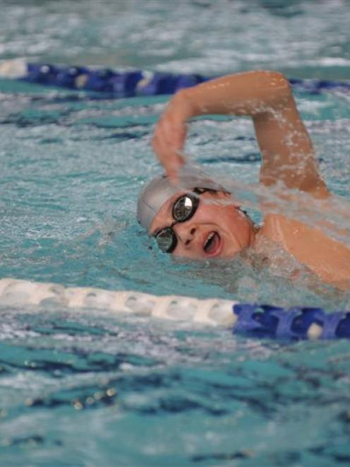 Up-and-coming Otago swimmer Han Zhang trains at Moana Pool in Dunedin yesterday. Photo by Peter...