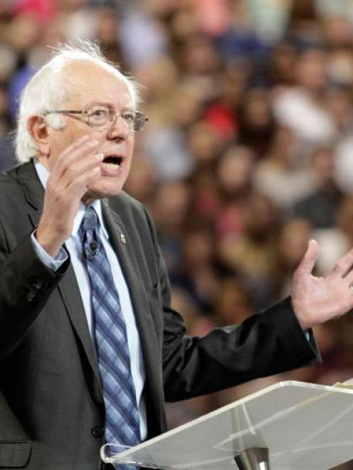 US Democratic presidential candidate Senator Bernie Sanders delivers an address to Liberty...