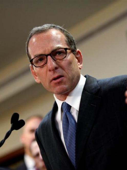 US Justice Department official Lanny Breuer explains the HSBC sanctions. REUTERS/Joshua Lott