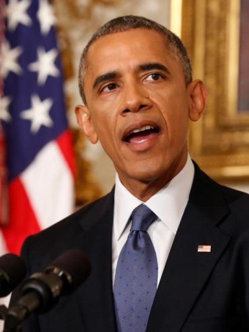 US President Barack Obama makes an announcement about the humanitarian relief situation in Iraq,...