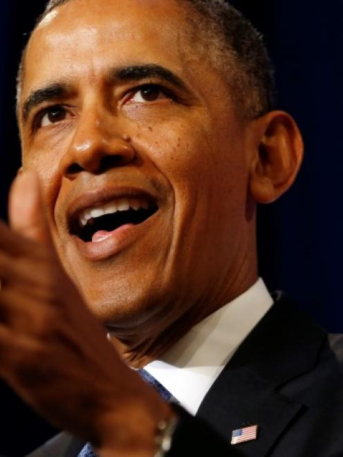US President Barack Obama speaks about the National Security Agency from the Justice Department...
