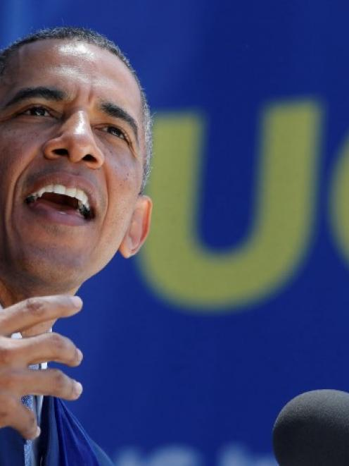 US President Barack Obama speaks during the commencement ceremony for the University of...