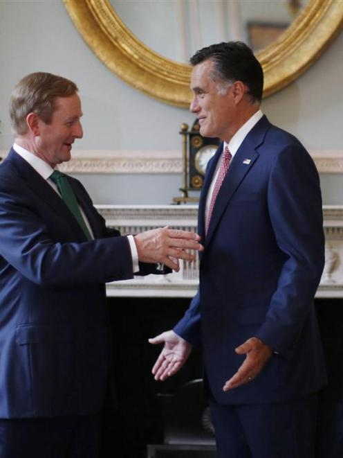 US Republican Presidential candidate Mitt Romney meets with Irish Prime Minister Enda Kenny at...