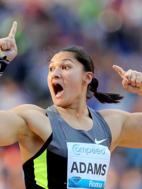 Valerie Adams celebrates winning the shot put event at the Golden Gala IAAF Diamond League at the...
