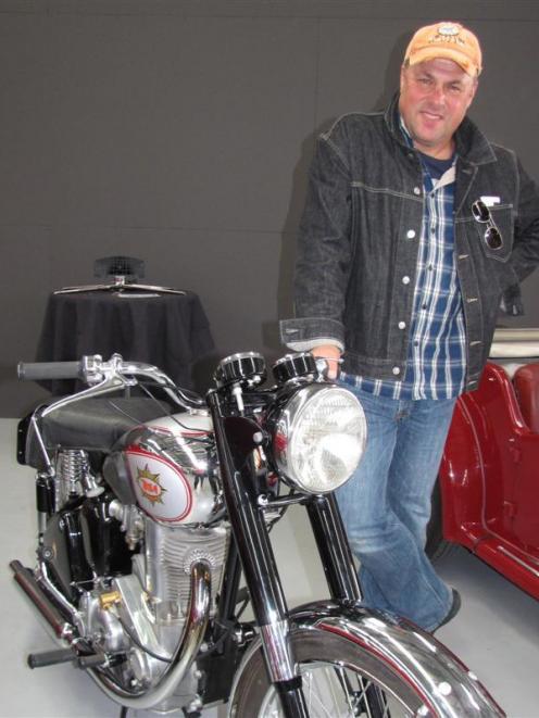 Vector Arena director Stuart Clumpas, of Auckland, with the 1949 BSA Goldstar motorcycle he...