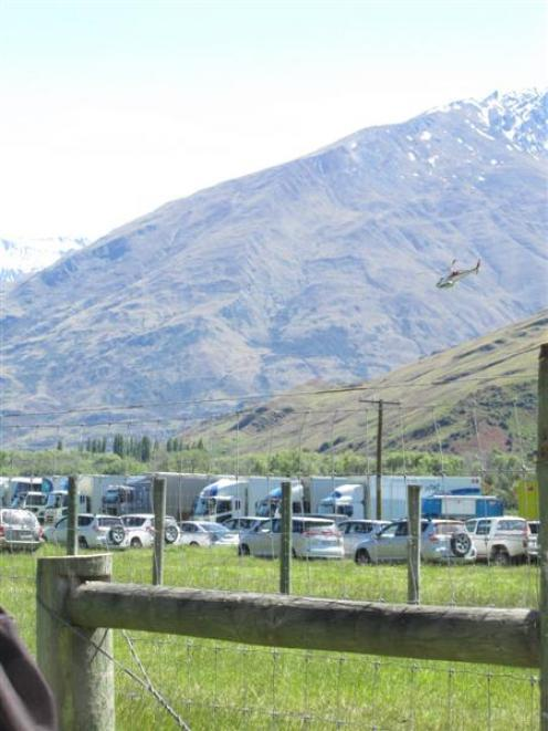 Vehicles are parked at 3Foot7 Ltd's second unit camp in the Matukituki Valley. Photo by Marjorie...