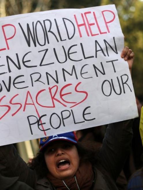 Venezuelan citizens residing in Spain protest against the government of Venezuelan President...