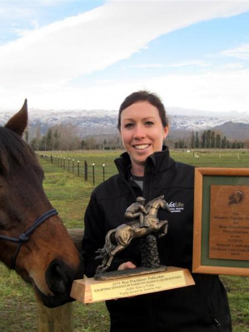 Vetlife Alexandra vet Becci Bishop with trophies that she has won this year. Photo supplied.