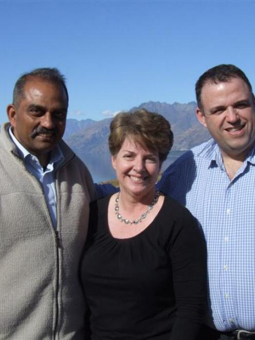 Visiting Mt Nicholas Station during the Queenstown Agribusiness Symposium last week were (from...