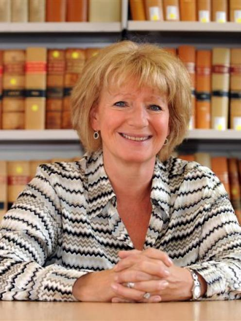 Visiting UK law specialist Prof Dame Hazel Genn in the staff law library at the University of...