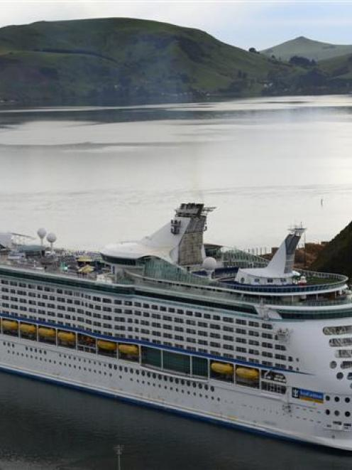 Voyager of the Seas at Port Chalmers last month. Photo by Peter McIntosh.
