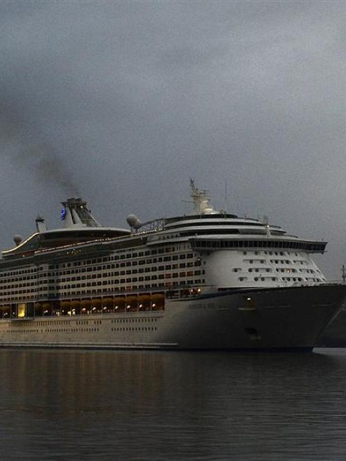 Voyager of the Seas prepares to dock at Port Chalmers on Saturday. Photo by Peter McIntosh.