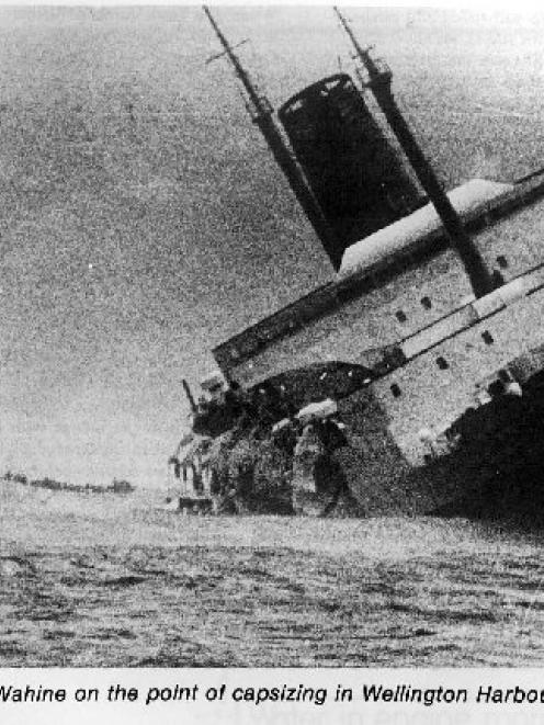 Wahine on the point of capsizing in Wellington Harbour on April 10 1968.  Photo from the NZ Herald.