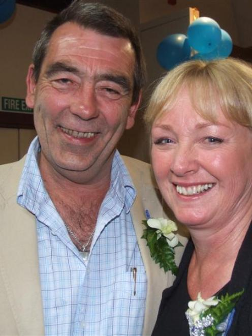 Waitaki MP Jacqui Dean celebrates her victory with husband Bill on Saturday night.  Photo by...