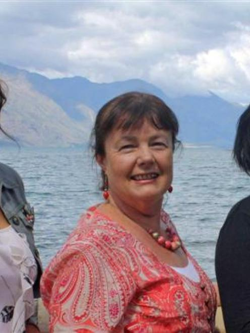 Wakatipu artists (from left) Karyn Hitchman, Sue Wademan and Samantha Collyer display their...