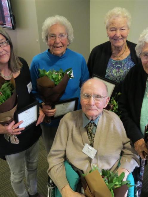 Wakatipu Senior Citizens Association life membership award winners (from left) Karen Bouley,...