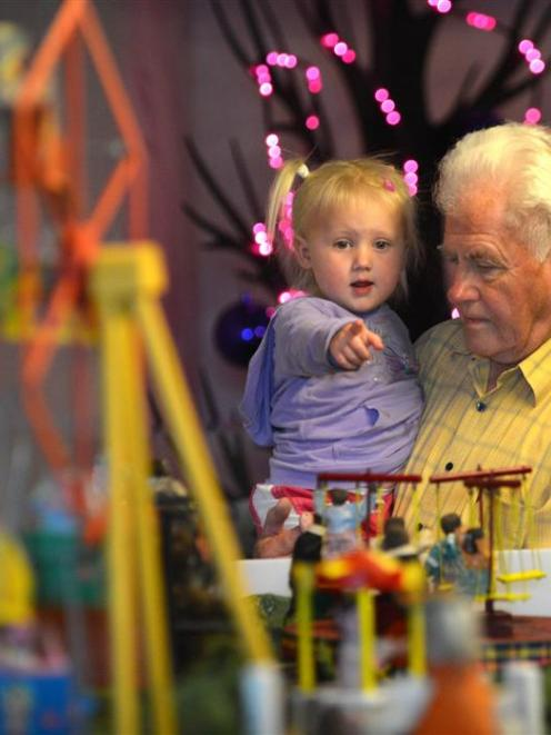 Wallace Russell and Amber Russell-Egan (2), of Dunedin, visit Pixie Town at Toitu Otago Settlers...