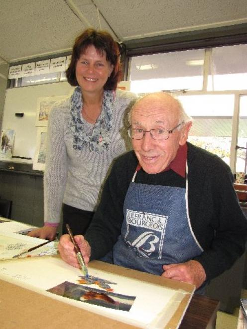 Wanaka Autumn Art School painting tutor Jacky Pearson, of Lower Hutt, with the school's oldest...