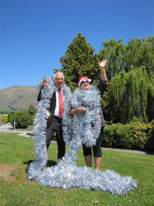 "Wanaka Community Board chairman Lyal Cocks and self-described ""Christmas fairy"" Jen Anderson in..."