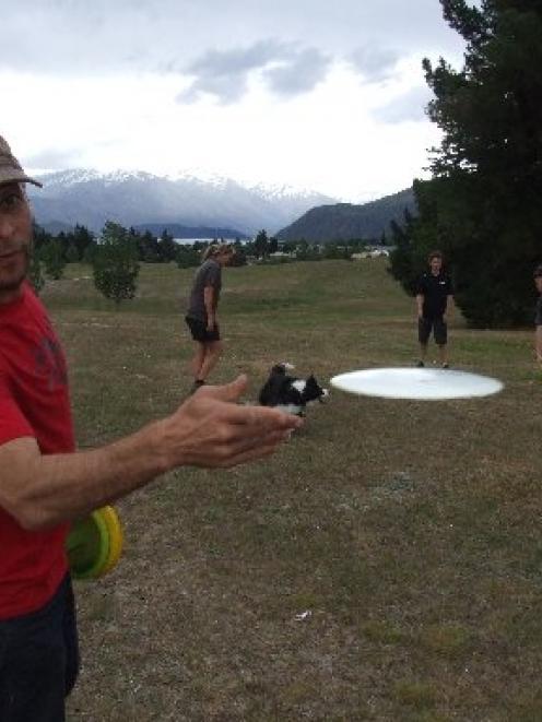 Wanaka disc golfers (from left) Martin Galley, Shannon Foley, Hazen Simson and Matt Gunn,...
