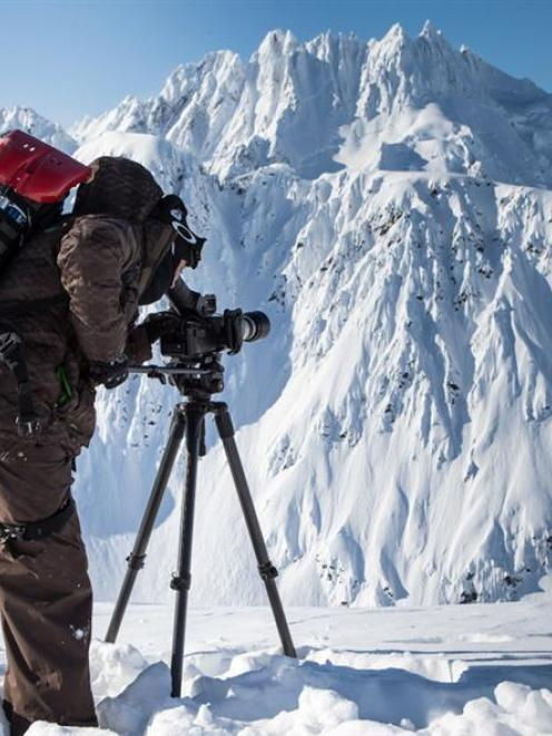 Wanaka film-maker Tim Pierce captures footage for his snowboarding film Red Bull Mates in Alaska,...