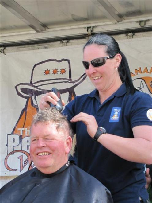 Wanaka's Perfect Woman competition originator Stew Burt, pictured being shorn by Shelley-Mae...