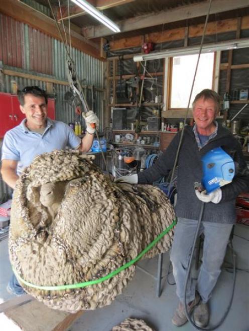 Wanaka sculptor and artist Minhal Al Halabi (left) and welder Laurie Scheib, of Queenstown, take...