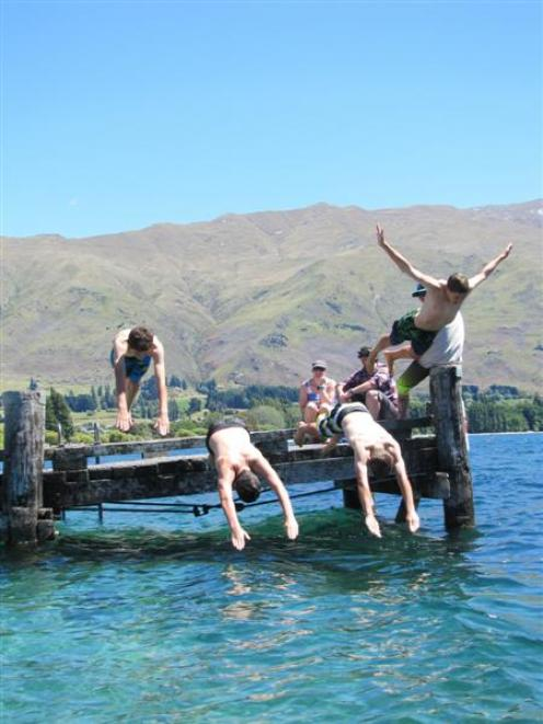 Wanaka teenagers (from left),  James Simpkin (14), Callum Rennie (14), Lewis Brooks (14) and...