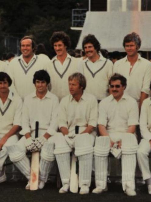 Warwick Larkins (bottom row, second from right), former New Zealand cricket scorer, who played...